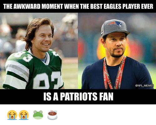 Philadelphia Eagles, Meme, and Nba: THE AWKWARD MOMENT WHEN THE BEST EAGLES PLAYER EVER  @NFL MEME  IS A PATRIOTS FAN 😭😭 🐸 ☕️
