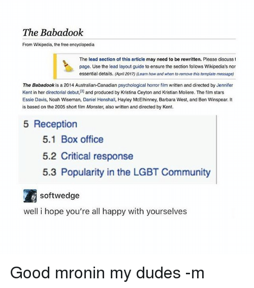 The Babadook From Wikipedia the Free Encyclopedia the Lead Section ...