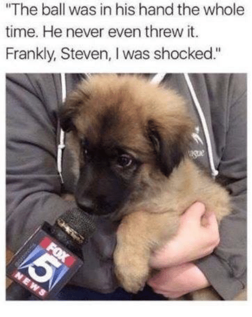 """Memes, Time, and Never: """"The ball was in his hand the whole  time. He never even threw it  Frankly, Steven, I was shocked"""""""