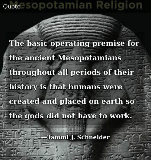 The Basic Operating Premise for the Ancient Mesopotamians