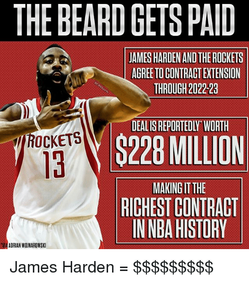 Beard, James Harden, and Memes: THE BEARD GETS PAID  JAMES HARDEN AND THE ROCKETS  AGREE TO CONTRACT EXTENSION  THROUGH 2022-23  DEALIS REPORTEDLY WORTH  TROCKETS  H$228 MILLION  MAKING IT THE  RICHEST CONTRACT  IN NBA HISTORY  VIA ADRIAN WOINAROWSKI James Harden = $$$$$$$$$