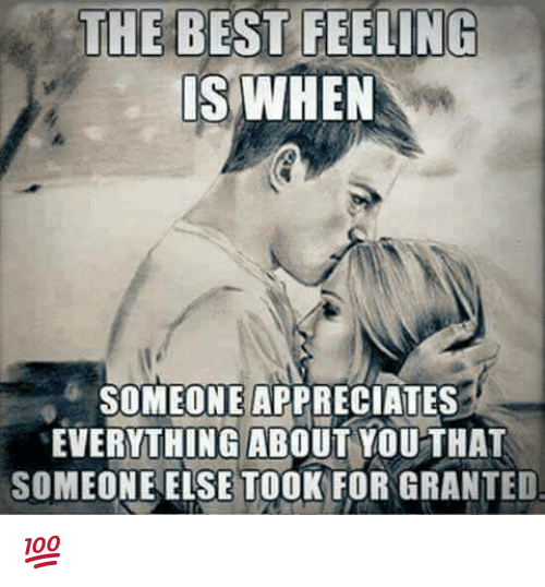 Memes, Best, and 🤖: THE BEST FEELING  IS WHEN  SOMEONE APPRECIATES  EVERYTHING ABOUT YOUTHAT  MEONE ELSE TOOK FOR GRANTED  SO 💯