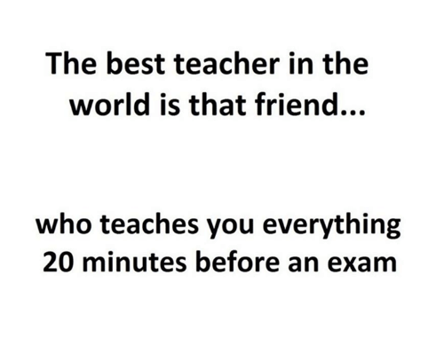 Memes, Teacher, and Best: The best teacher in the  world is that friend...  who teaches you everything  20 minutes before an exam