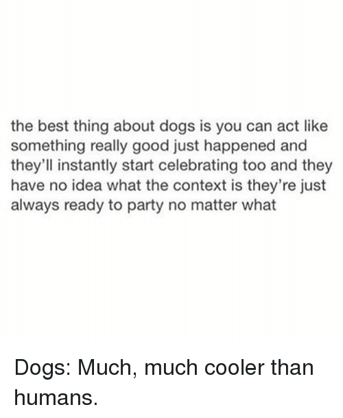 Dogs, Memes, and Party: the best thing about dogs is you can act like  something really good just happened and  they'll instantly start celebrating too and they  have no idea what the context is they're just  always ready to party no matter what Dogs: Much, much cooler than humans.