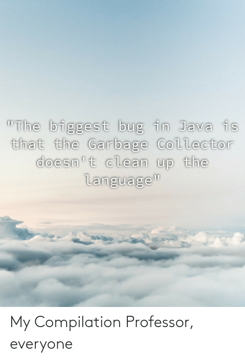 """Java, Garbage, and Language: """"The biggest bug in Java is  that the Garbage Collector  doesn't clean up the  language"""" My Compilation Professor, everyone"""
