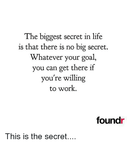 Memes, 🤖, and Working: The biggest secret in life  is that there is no big secret.  Whatever your goal,  you can get there if  you're willing  to work.  found This is the secret....