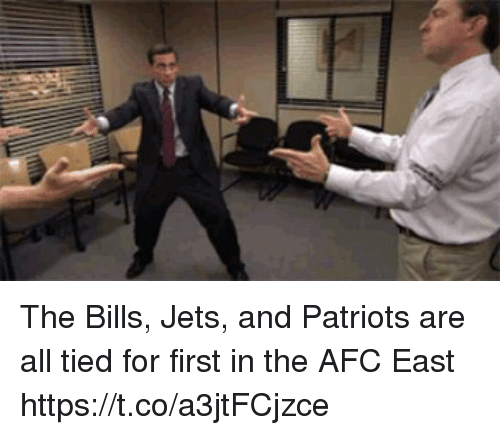 Patriotic, Tom Brady, and Jets: The Bills, Jets, and Patriots are all tied for first in the AFC East https://t.co/a3jtFCjzce