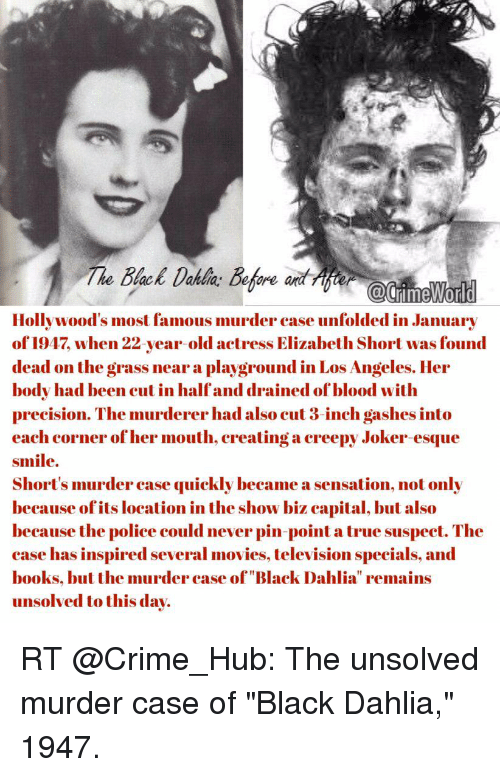 elizabeth short case This is all only alleged, of course, because the elizabeth short case has never  officially been solved and there have been many suspects over.