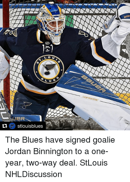 Memes, Jordan, and Blues: The Blues have signed goalie Jordan Binnington to a one-year, two-way deal. StLouis NHLDiscussion