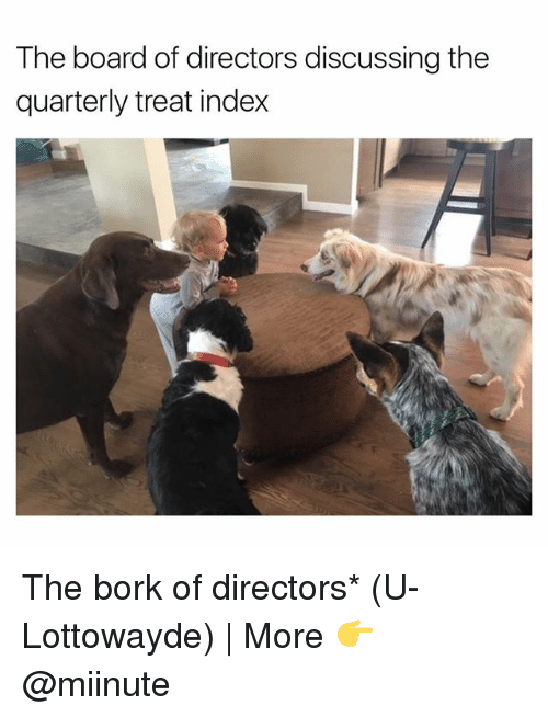 Funny, Board, and Index: The board of directors discussing the  quarterly treat index The bork of directors* (U-Lottowayde) | More 👉 @miinute