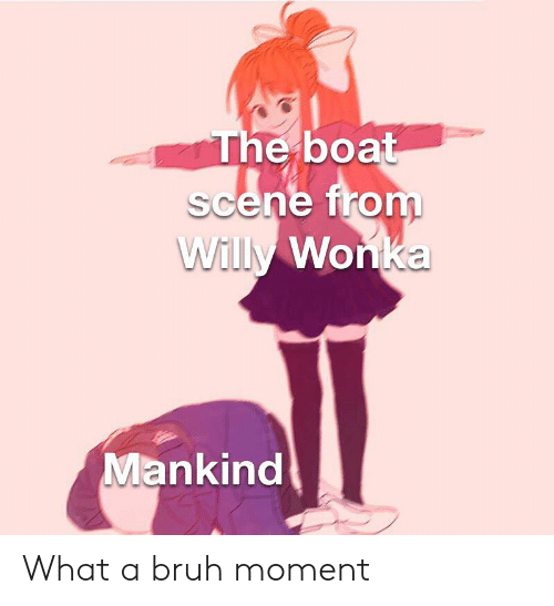 Bruh, Willy Wonka, and Dank Memes: The boat  scene from  Willy Wonka  Mankind What a bruh moment