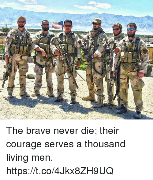Memes, Brave, and Courage: The brave never die; their courage serves a thousand living men. https://t.co/4Jkx8ZH9UQ