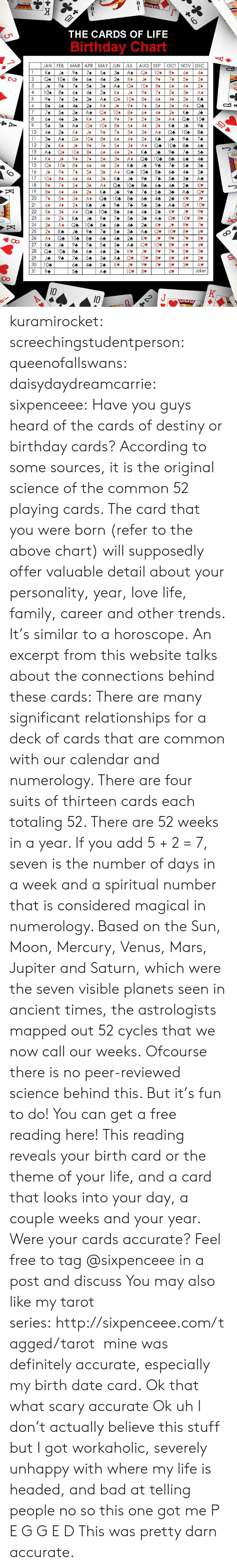 Bad, Birthday, and Definitely: THE CARDS OF LIFE  Birthday  Chart  JAN FEB  MAR APR MAY JUN JUL  AUG SEP  A  OCT NOV DEC  Q  Ка  JA  94  74  54  34  10.  8+  4+  2  104  84  64  24  К-  J*  94  7+  3+  44  3  JA  94  74  54  34  A4  Q+  10.  84  4¢  24  4.  104  84  64  44  24  Ke  J+  94  7+  5+  3+  A*  Q  10  5  94  74  54  84  2+  КФ  AA  44  8  6  24  К»  J+  94  7+  5+  3+  A*  QA  44  10  7  74  54  За  AA  8+  44  2+  Ка  JA  8  64  24  КА  J*  9+  7+  5+  3+  A*  Q4  104  44  A  54  34  Q  10.  8+  24  Ка  4*  JA  A  10  24  K*  J+  9+  7+  5+  3+  Q  104  8+  44  11  34  Q  10+  8+  2+  Ка  94  74  Aa  4+  JA  12  24  K*  94  7+  5+  3+  A*  Q4  104  84  13  8+  AA  Q+  10+  4*  2*  Ка  JA  94  74  54  14  K*  J+  9+  5+  3+  A.  Q&  104  84  64  44  15  Q+  10+  8+  94  54  ЗФ  4*  2+  Ка  JA  16  J+  9+  7+  5+  3+  A*  QA  104  84  64  24  44  17  10+  8+  4*  2+  КФ  JA  94  74  54  3Ф  A4  18  9+  7+  5+  30  Q&  104  8+  24  КУ  A*  64  44  19  8+  6+  44  Ка  94  74  54  З4  A*  Qv  20  7+  5+  3¢  Q+  104  84  24  КУ  A*  44  Jv  A  K  A  21  2+  Ка  JA  94  74  54  За  Qv  10-  4*  22  5+  3+  Q4  104  8  24  A*  64  44  23  2+  Ка  JA  94  74  54  Зф  Qv  10v  44  7  24  9  3+  A.  Q  104  84  64  44  24  KV  Jv  10  25  24  Ка  94  74  54  За  Qv  8V  JA  A4  K  26  Q  104  84  24  A*  64  44  5  27  4  KA  JA  94  74  34  A4  Qv  10  8v  28  104  84  24  Kv  5v  3D  A  29  94  74  54  3Ф  10v  Qv  4v  30  104  44  24  Kv  J  7v  3%  AV  Joker  31  94  54  10%  8V  Aa  10  K  10  24  - kuramirocket: screechingstudentperson:   queenofallswans:  daisydaydreamcarrie:  sixpenceee:   Have you guys heard of the cards of destiny or birthday cards? According to some sources, it  is the original science of the common 52 playing cards. The card that you were born (refer to the above chart) will supposedly offer valuable detail about your personality, year, love life, family, career and other trends. It's similar to a horoscope. An excerpt from this websit