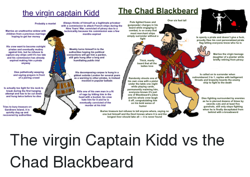 Beard, Children, and Head: The Chad Blackbeard  the virgin captain Kidd  Over six feet tall  Puts lighted fuses and  gunpowder charges in his  Always thinks of himself as a legitimate privateer  with a commission to attack French ships during the  Nine Years' War, convicted of piracy due to a  technicality because his commission was a few  months expired  Probably a manlet  beard while engaging in  combat, is so scary that  most merchant ships  simply surrender without a  fight  Marries an unattractive widow with  children from  a previous marriage  hoping to get her money  Is openly a pirate and doesn't give a fuck,  proudly flies his cool personalized pirate  lag letting everyone know who he is  His crew want to become outright  pirates and eventually mutiny  against him, but he refuses to  capture any ships until it's too late  and his commission has already  expired making him a pirate  anyway  Meekly turns himself in to the  authorities hoping his political  connections will get him a pardon  still gets hung after a long and  humiliating public trial  Marries the virgin teenage  daughter of a planter while  briefly retiring from piracy  Thick, manly  beard that all the  ladies love  Dies pathetically weeping  and saying prayers in front  of a jeering crowd  His decomposing corpse is hung in a  gibbet outside London for several years  as a warning to other pirates, is instead  mocked in popular ballads  Is called on to surrender when  outnumbered 3 to 1, replies with belligerent  threats and brazenly boards the enemy  ship to fight to the death  Randomly shoots one of  his own crew with a pistol  under the table one night  while playing cards,  permanently maiming him,  everyone knows it's just  one of Blackbeard's jokes  and his whole crew laugh  it off, congratulating him  on his bold sense of  humor  Is actually too light for his neck to  break during the first hanging  attempt and has to be cut down  and hung twice before he dies  Kills one of his own men in a fit  of rage by hitting him in the  head with a bucket, his crew  hate him for it and he is  eventually convicted of the  murder at his trial  Dies fighting surrounded by enemies  as he is pierced dozens of times by  swords cuts and at least five  gunshots, still only stops fighting  when he is finally decapitated from  behind with a broadsword  Tries to bury treasure on  Gardiners Island, it is  quickly dug up and  recovered by authorities  Buries treasure but refuses to tell anyone where, saying no  one but himself and the Devil knows where it is and the  longest liver should take all it is never found