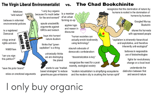 """Logic, Virgin, and Animal: The Chad Bookchinite  The Virgin Liberal Environmentalist  vs.  recognizes that the domination of nature by  humans is rooted in the domination of  i only buy organic  because it's much better is a member  for the environment"""" of an urban  fetishizes  """"wild nature""""  humans by humans  farming co-op  believes in reformist  Googled Murray  Bookchin  spouts unscientific  arguments against  GMOS and biotech  environmental policies  applies logic  and reason in  is a registered  Democrat  shares his harvests  discourse  with oppressed people  buys into human  nature dualism  """"human societies can  actually enrich biodiversity  using technology""""  cringy animal  rights activism  """"capitalism is inherently hierarchical  and exploitative, and therefore  inherently anti-ecological""""  thinks that """"green  capitalism"""" is a thing  staunch advocate of  NIMBYism  believes in responsible  use of biotechnologies  democratic confederalism  unironically thinks  we are destroying  the planet  """"can you sign  this petition?""""  """"decentralization is key""""  fights for revolutionary  change on a local level  recognizes the need for a post-  scarcity, ecological society  understands the  distinction between first  and second nature  """"save the polar bears!""""  wants to use """"market-  """"modern industrialism is simplifying ecosystems  and the modern city is crushing the human spirit""""  based strategies"""" to reduce  greenhouse gas emissions  relies on emotional arguments  no more  GMOS lole I only buy organic"""