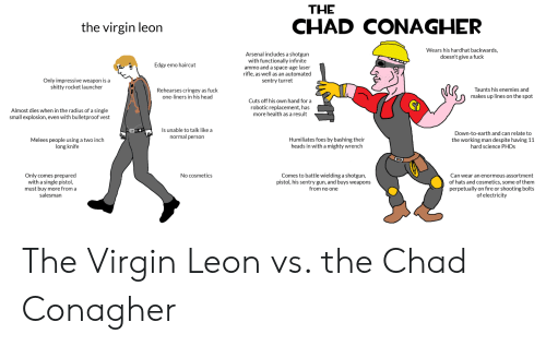 Arsenal, Emo, and Fire: THE  CHAD CONAGHER  the virgin leon  Wears his hardhat backwards,  doesn't give a fuck  Arsenal includes a shotgun  with functionally infinite  ammo and a space-age laser  rifle, as well as an automated  sentry turret  Edgy emo haircut  Only impressive weapon is a  shitty rocket launcher  Taunts his enemies and  Rehearses cringey as fuck  one-liners in his head  makes up lines on the spot  Cuts off his own hand for a  robotic replacement, has  more health as a result  Almost dies when in the radius of a single  small explosion, even with bulletproof vest  Is unable to talk like a  Down-to-earth and can relate to  normal person  Humiliates foes by bashing their  heads in with a mighty wrench  Melees people using a two inch  long knife  the working man despite having 11  hard science PHDS  Comes to battle wielding a shotgun  pistol, his sentry gun, and buys weapons  from no one  Only comes prepared  with a single pistol,  must buy more from a  salesman  No cosmetics  Can wear an enormous assortment  of hats and cosmetics, some of them  perpetually on fire or shooting bolts  of electricity The Virgin Leon vs. the Chad Conagher