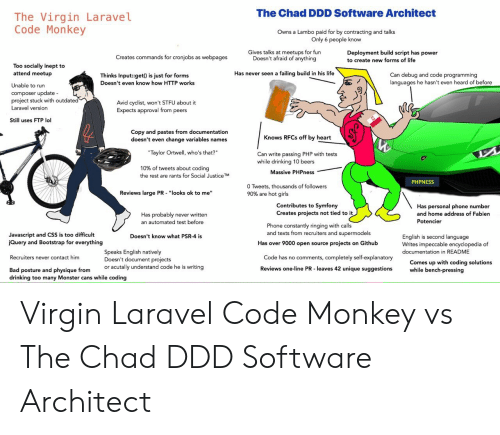 The Chad DDD Software Architect the Virgin LaraveL Code Monkey Owns