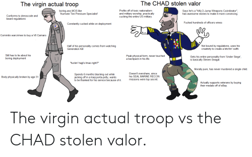 """Ass, Beard, and eBay: The CHAD stolen valor  The virgin actual troop  Profits off of toxic nationalism  and military worship, practically  cucking the entire US military  boring-ass MOS like  Humvee Tire Pressure Specialist'  Says he's a """"HALO-Jump Weapons Coördinator"""",  has awesome stories to make it more convincing  Conforms to dre  beard regulations  sscode and  Fucked hundreds of officers wives  Constantly cucked while on deployment  Commits warcrimes to buy a V6 Camaro  Not bound by regulations, uses his  creativity to create a bitchin' outfit.  Half of his personality comes from watching  Generation Kill  Still has to lie about his  boring deployment  Peak physical form, never touched  a backpack in his life  Gets his entire personality from 'Under Siege',  is basically Steven Seagal  """"fuckin' haji's Imao right?""""  Morally pure, has never murdered a single child  Doesn't overshare, since  his SEAL MARINE RECON  missions were top secret.  Spends 6 months blacking out while  jacking off in a Iraqi porta-potty, wants  to be thanked for his service because of it.  Body physically broken by age 31  Actually supports veterans by buying  their medals off of eBay The virgin actual troop vs the CHAD stolen valor."""