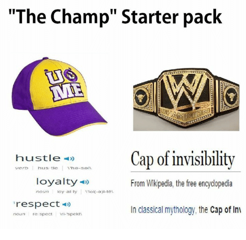 c44437c83ee The Champ Starter Pack AME Hustle Cap of Invisibility From Wikipedia ...