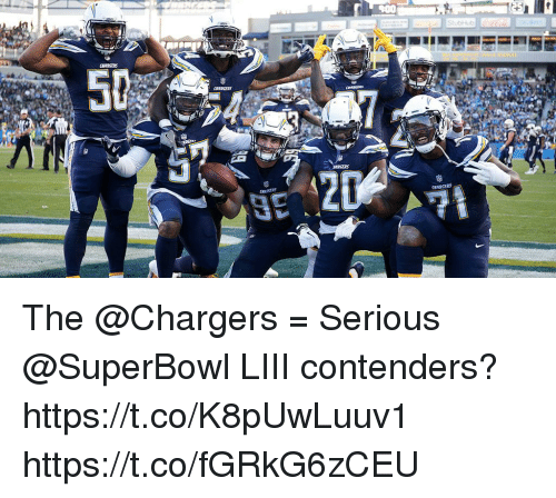 Memes, Chargers, and Superbowl: The @Chargers = Serious @SuperBowl LIII contenders?https://t.co/K8pUwLuuv1 https://t.co/fGRkG6zCEU