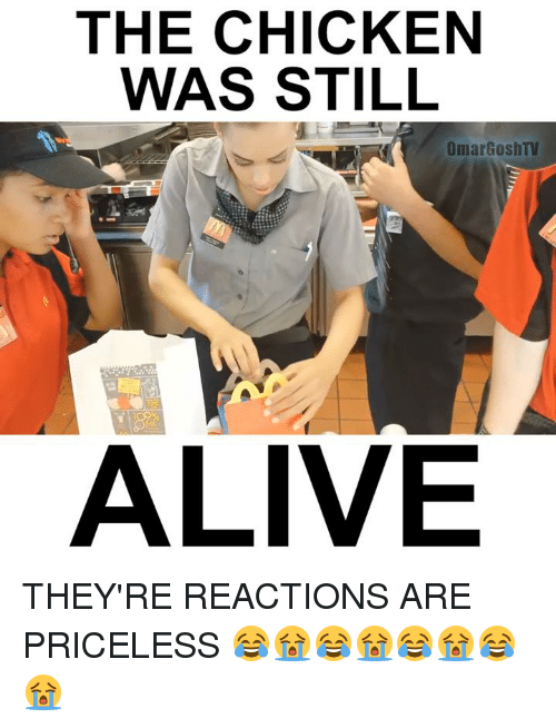 Alive, Memes, and Chicken: THE CHICKEN  WAS STILL  Omar Gosh TV  ALIVE THEY'RE REACTIONS ARE PRICELESS 😂😭😂😭😂😭😂😭