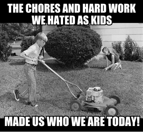 Memes, Work, and Kids: THE CHORES AND HARD WORK  WE HATED AS KIDS  MADE US WHOWE ARE TODAY!
