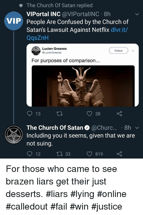 The Church of Satan Replied VIPortal INC 8h People Are Confused by