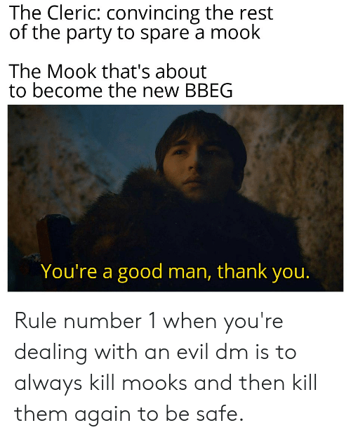 Party, Thank You, and Good: The Cleric: convincing the rest  of the party to spare a mook  The Mook that's about  to become the new BBEG  You're a good man, thank you. Rule number 1 when you're dealing with an evil dm is to always kill mooks and then kill them again to be safe.