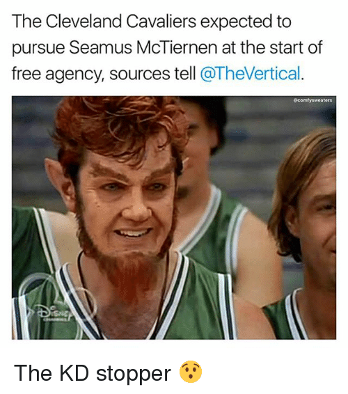 Cleveland Cavaliers, Memes, and Cavaliers: The Cleveland Cavaliers expected to  pursue Seamus McTiernen at the start of  free agency, sources tell @TheVertical  @comfysweaters The KD stopper 😯