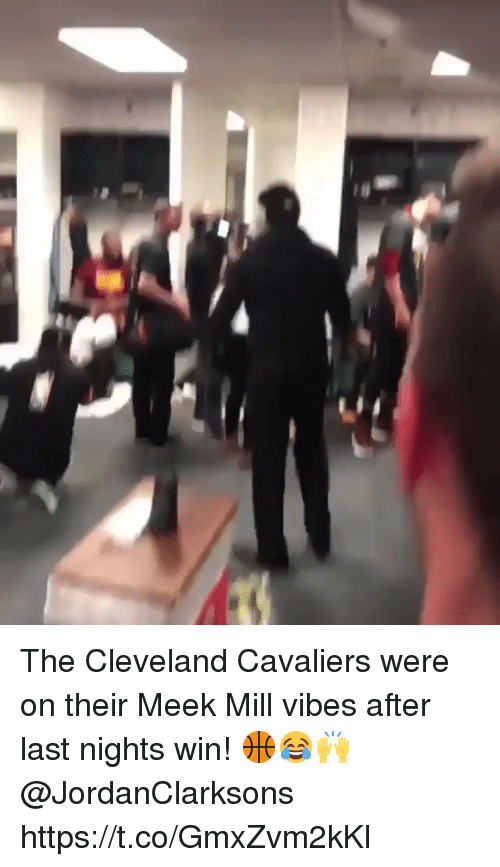 Cleveland Cavaliers, Meek Mill, and Cavaliers: The Cleveland Cavaliers were on their Meek Mill vibes after last nights win! 🏀😂🙌 @JordanClarksons https://t.co/GmxZvm2kKl