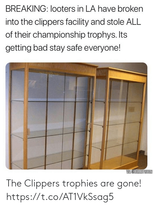 Clippers, Gone, and Trophies: The Clippers trophies are gone! https://t.co/AT1VkSsag5