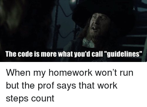 """Run, Work, and Homework: The code is more what you'd call """"guidelines"""" When my homework won't run but the prof says that work steps count"""