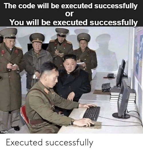 Code, The Code, and Will: The code will be executed successfully  or  You will be executed successfully Executed successfully
