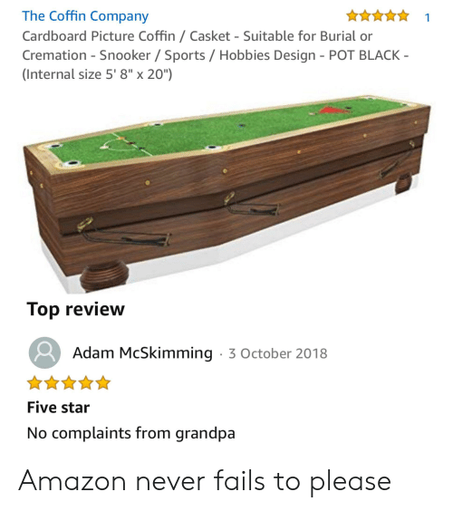 The Coffin Company 1 Cardboard Picture Coffin Casket