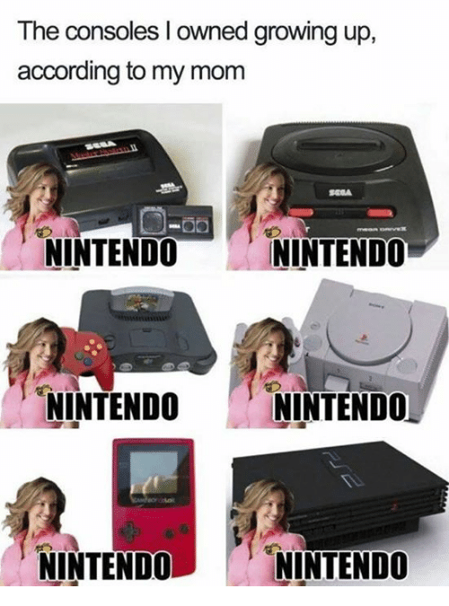 Growing Up, Memes, and Nintendo: The consoles I owned growing up,  according to my monm  NINTENDO  NINTENDO  NINTENDO  NINTENDO  NINTENDONINTENDO