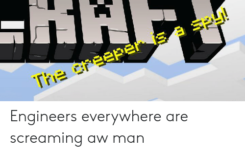 The Creeper S a SPy! Engineers Everywhere Are Screaming Aw Man
