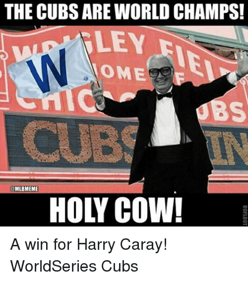 the cubs are world champs nley ome mlbmeme a win 5870960 25 best harry caray memes cub memes, champs memes, the world