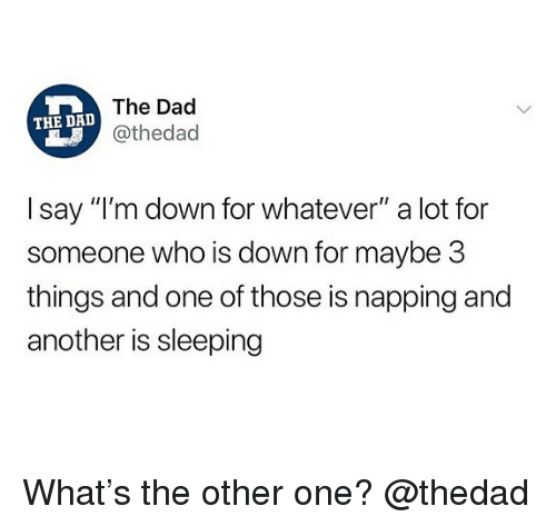 "Dad, Memes, and Sleeping: The Dad  @thedad  THE DAD  I say ""I'm down for whatever"" a lot for  someone who is down for maybe 3  things and one of those is napping and  another is sleeping What's the other one? @thedad"
