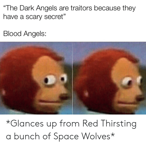 "Angels, Space, and Wolves: The Dark Angels are traitors because they  have a scary secret""  Blood Angels: *Glances up from Red Thirsting a bunch of Space Wolves*"