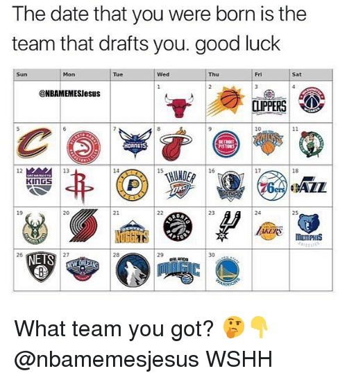 Memes, Wshh, and Date: The date that you were born is the  team that drafts you. good luck  Sun  Mon  Tue  Wed  Thu  Fri  Sat  @NBAMEMESlesus  10  HORNETS  PISTONS  12  13  14  15  16  17  18  20  21  23  24  26  NETS  27  28  29  30 s What team you got? 🤔👇 @nbamemesjesus WSHH