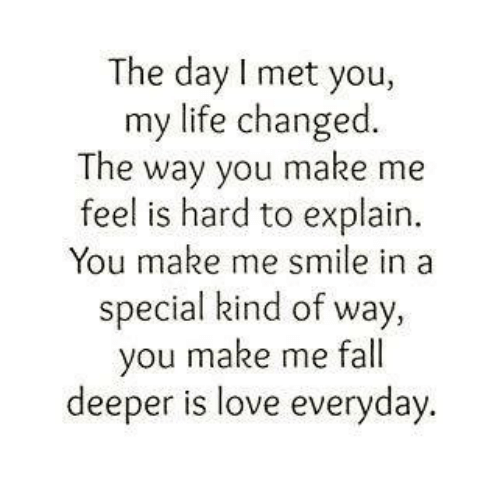 Quotes About Love For Him: The Day I Met You My Life Changed The Way You Make Me Feel