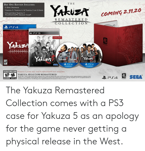 The DAY ONE EDITION INCLUDES YAkuz comiG 2-Disc DIGIPACK