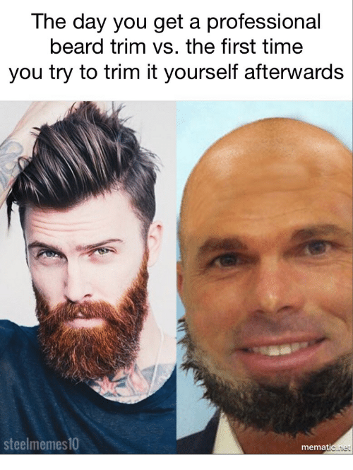 The Day You Get a Professional Beard Trim vs the First Time You Try to Trim  It Yourself Afterwards Steel Memes10 Memat Net | Beard Meme on ME.ME