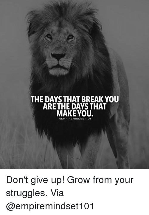 the days that break you are the days that make 26163561 ✅ 25 best memes about dont give up dont give up memes