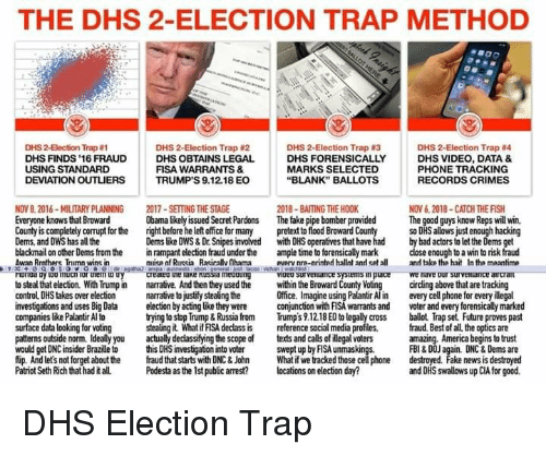 """America, Bad, and Fake: THE DHS 2-ELECTION TRAP METHOD  DHS 2-Election Trap #4  DHS VIDEO, DATA &  PHONE TRACKING  RECORDS CRIMES  DHS 2-Becton Trap ฮา  DHS 2-Election Trap 2  DHS 2-Election Trap #3  DHS FINDS 16 FRAUD  DHS O  BTAINS LEGAL  DHS FORENSICALLY  FISA WARRANTS &  TRUMP'S 9.12.18 EO  USING STANDARD  MARKS SELECTED  """"BLANK"""" BALLOTS  DEVIATION OUTLIERS  2018-BAITING THE HOOK  NOV 8. 2016-MILITARY PLANNING  Everyone knows that Broward  County is completely corrupt for the  Dems, and DWS has all the  2017-SETTING THE STAGE  right before he left office for many  in rampant election fraud under the  NOV 6.2018 CATCH THE FISH  Obama likely issued Secret Pardons  The fake pipe bomber providedThe good guys know Reps will win.  o DHS allows just enough hacking  pretext to flood Broward County  Dems like DWS&Dr.Snipes involved with DHS operatives that have had by bad actors to let the Dems get  blackmail on other Dems from the  ample time to forensically mark  close enough to a win to risk fraud  In the meantime  wan Knthors Inimn wins in  rinua ם เ00 mucii lor iem un  to steal that election. With Trump in  control DHS takes over election  investigations and uses Big Data  companies like Palantir Al to  surface data looking for voting  mmise nf Russia Racirallv (Ihama vrv nrn-nrintpd hallnt and spt all ndtake the hait  crea eu uleraKe Kuss a me uur  narrative. And then they used the wthin the Broward County  narrative to justify stealing the  voeo sur vel ances lems in oace  we  nave our surveRrance aircrai  cirding above that are tracking  every cell phone for every llegal  voter and every forensically markerd  Office. Imagine using Palantir Al in  ection by acting üke they were  cojunction with FISA warrants and  trying to stop Trump&RussiafomTrumps 9.12.18 EO to legaly cross ballot Trap set Future proves past  stealing it What if FISA declass is reference social media profiles, fraud. Best of all the optics are  patterns outside norm. Ideally you  would get DNC i"""