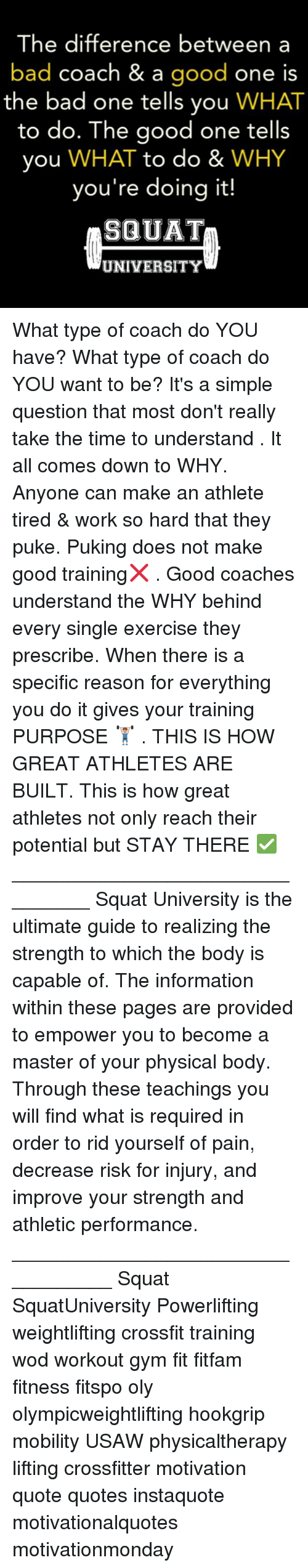 Bad, Gym, and Memes: The difference between a  bad coach & a  good  one is  the bad one tells you  WHAT  to do. The good one tells  you  WHAT to do &  WHY  you're doing it!  SQUAT  UNIVERSITY What type of coach do YOU have? What type of coach do YOU want to be? It's a simple question that most don't really take the time to understand . It all comes down to WHY. Anyone can make an athlete tired & work so hard that they puke. Puking does not make good training❌ . Good coaches understand the WHY behind every single exercise they prescribe. When there is a specific reason for everything you do it gives your training PURPOSE 🏋🏽 . THIS IS HOW GREAT ATHLETES ARE BUILT. This is how great athletes not only reach their potential but STAY THERE ✅ ________________________________ Squat University is the ultimate guide to realizing the strength to which the body is capable of. The information within these pages are provided to empower you to become a master of your physical body. Through these teachings you will find what is required in order to rid yourself of pain, decrease risk for injury, and improve your strength and athletic performance. __________________________________ Squat SquatUniversity Powerlifting weightlifting crossfit training wod workout gym fit fitfam fitness fitspo oly olympicweightlifting hookgrip mobility USAW physicaltherapy lifting crossfitter motivation quote quotes instaquote motivationalquotes motivationmonday