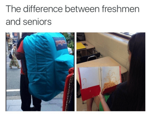 Seniors, And, and The: The difference between freshmern  and seniors