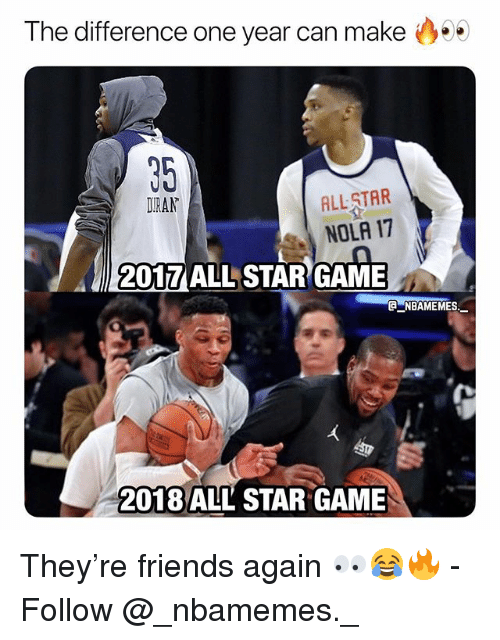 All Star, Friends, and Memes: The difference one year can make  35  DIRAN  ALL STAR  NOLA 17  2017 ALL STAR GAME  @ーNBAME MES.-  2018 ALL STAR GAME They're friends again 👀😂🔥 - Follow @_nbamemes._