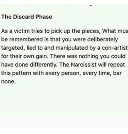 Narcissist discard phase