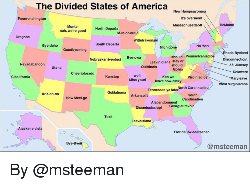 The Divided States Of America New Hampsayona It S Overmont